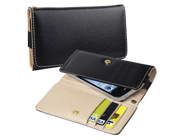 Insten Black Leather Wallet Cell Phone Case for HTC EVO 4G 657843