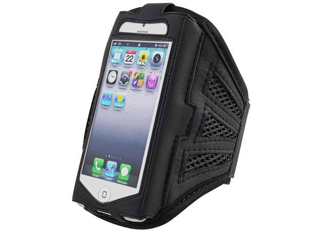 eForCity Deluxe ArmBand compatible with Apple® iPhone 5 / 5C/5S/ touch 5th Generation, Black/ Black