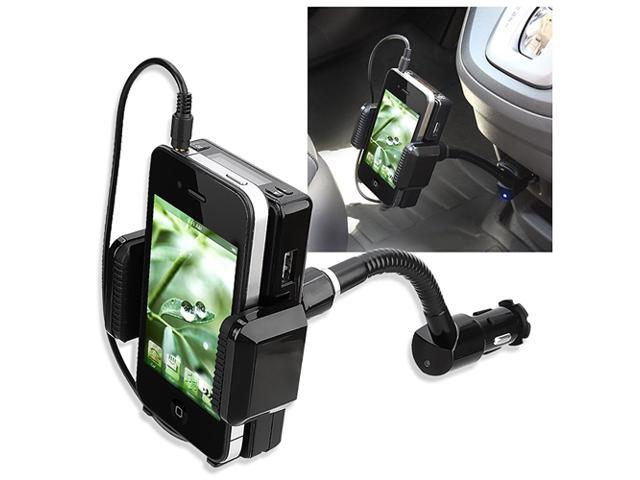 eForCity FM Transmitter w/ 3.5mm Audio Cable Compatible with iPhone 4 & 4S