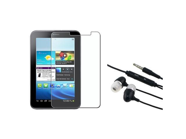 eForCity Black Universal 3.5mm In-Ear Stereo Headset w/ On-off & Mic+3X Anti-Glare Screen Protector Compatible With Samsung? Galaxy Tab 2 P3100 / ...