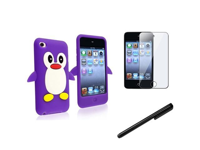 eForCity 3X Reusable Screen Protector + Purple Penguin Penguin Silicone Skin Case + Black Touch Screen Stylus Compatible With Apple? iPod Touch ...