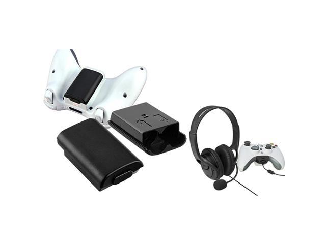 eForCity 2X Black Wireless Controller Battery Pack Shell + Black Headset with Microphone Bundle Compatible With Microsoft Xbox 360, Xbox 360 Slim