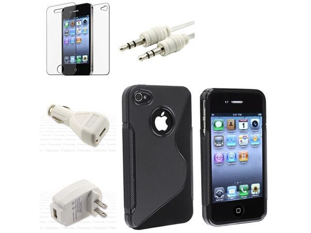 Rubber Case+2 INSTEN Charger+Guard+Cable For iPhone® 4 4S 4G 4GS G
