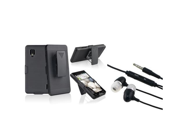 eForCity Black Swivel Holster with Stand Case with FREE Black In-ear (w/on-off) & Mic Stereo Headsets Compatible with LG Optimus G E970