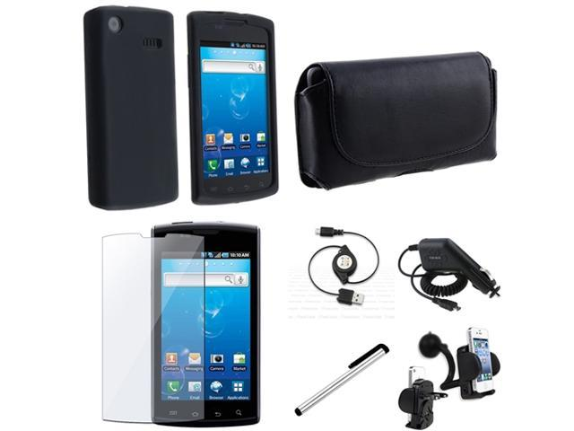 compatible with Samsung© i897 Captivate Black Silicone Case+Car Charger+INSTEN USB+Stylus