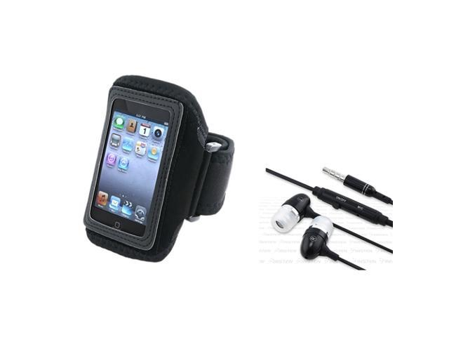 eForCity Black Armband + Headphone Compatible with iPod touch 4th Gen