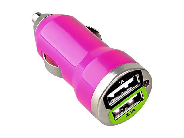 eForCity Dual USB Mini Car Charger Adapter, Hot Pink