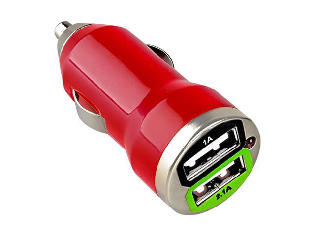 eForCity Dual USB Mini Car Charger Adapter, Red