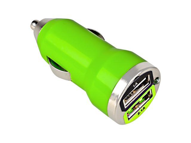 eForCity Dual USB Mini Car Charger Adapter, Green