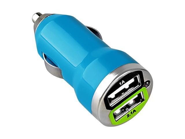 eForCity Dual USB Mini Car Charger Adapter, Blue