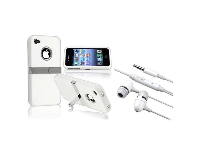 eForCity White Chrome Stand Rubber Coated Case+White In-ear (w/on-off) Stereo Headsets Compatible With Apple® iPhone 4 / 4S