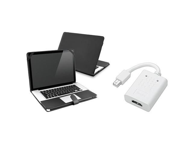 eForCity Black Leather Skin Case + Mini Displayport DP to HDMI Adapter Compatible with MacBook Pro 13