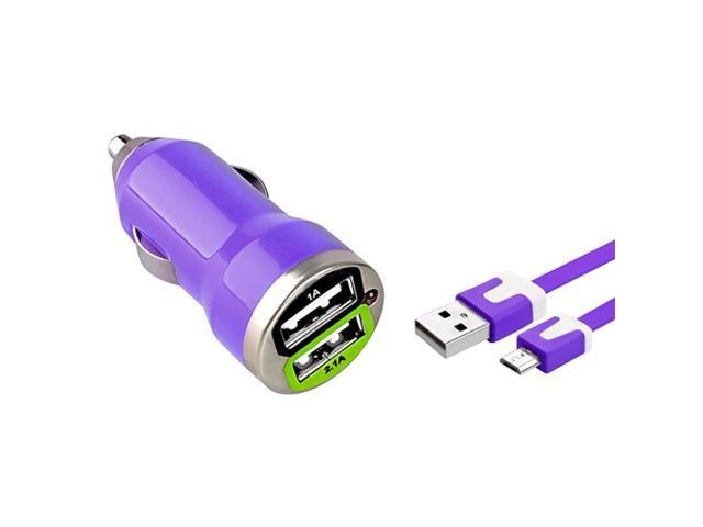 eForCity Purple Dual USB Mini Car Charger Adapter with FREE Purple Micro USB 2-in-1 Noodle Cable