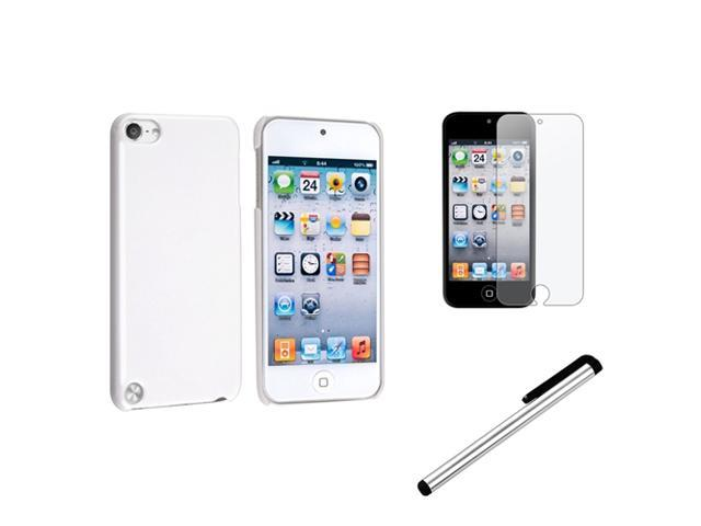 eForCity White Hard Case Skin+Anti-Glare Protector+Silver Stylus For Apple® iPod Touch 5 5th Gen