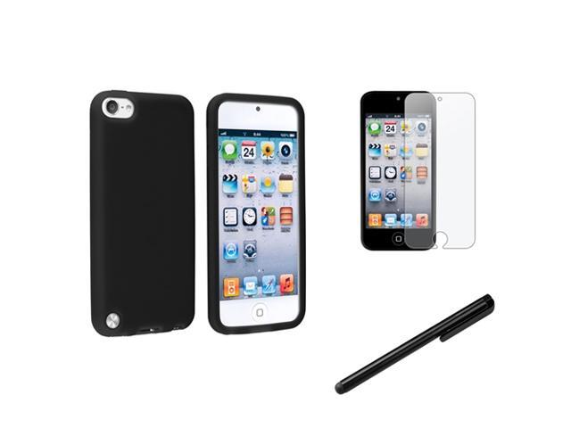 eForCity Black Gel Skin Case Cover + Anti-Glare Protector + Stylus For Apple? iPod Touch 5 5th Gen