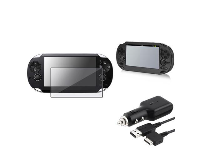 eForCity Black Aluminum Case + Reusable Screen Protector + Black Car Charger with USB Cable Bundle Compatible With Sony Playstation Vita