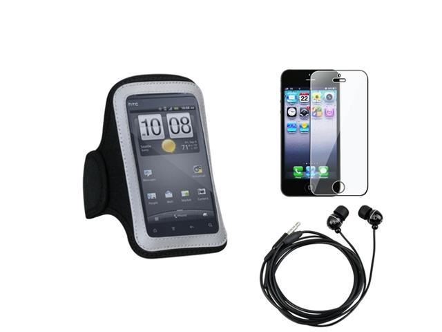 eForCity Headset + LCD Cover + Pouch Black Sport Armband 212 compatible with Apple® iPhone 5 5G Gen