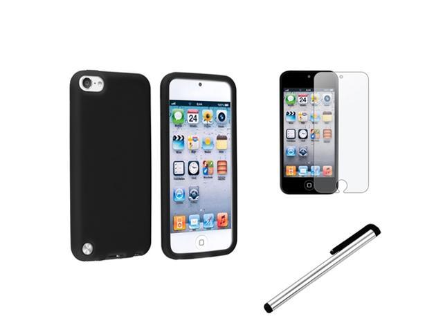 eForCity Black Gel Cover Case + Anti-Glare Film + Silver Stylus For Apple? iPod Touch 5 G 5th Gen
