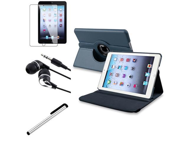 eForCity 4 Bundle Navy Blue 360 Rotating Leather Case Guard Headset Stylus compatible with Apple iPad Mini 1 / Apple iPad Mini 2 / iPad ...