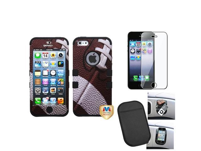 eForCity Film + Mat + compatible with Apple® iPhone 5 Rubber IMPACT TUFF HYBRID Case Skin Cover Football Black