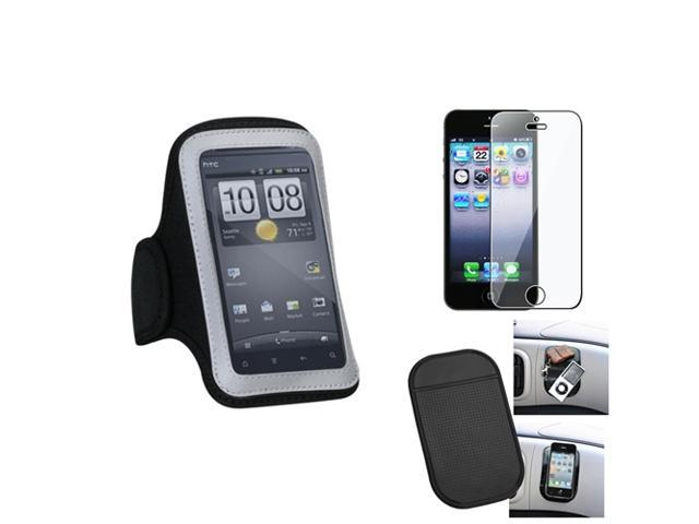 eForCity Film + Mat + Pouch Black Sport Armband 212 compatible with Apple® iPhone 5 5G GEN