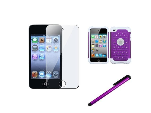 eForCity Purple Diamond Heavy Duty Hybrid Hard Case + LCD Guard + Stylus compatible with Apple? iPod Touch 4 4th