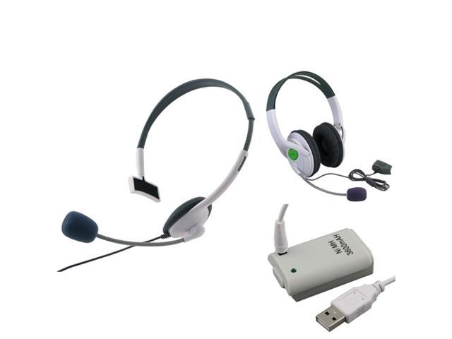 eForCity Headset + Headset w/Mic + gray Replacement Battery w/USB Cable Compatible With Microsoft Xbox 360, Xbox 360 Slim