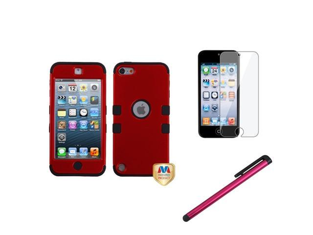 eForCity Red Black Rubber Hard Hybrid Case + Protector + Stylus compatible with Apple? iPod Touch 5 5G 5th
