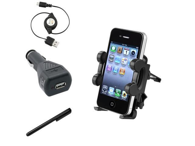 eForCity Holder Mount + Black Car Charger + Cable + Black Stylus Compatible with Samsung© Galaxy S4 i9500 S3