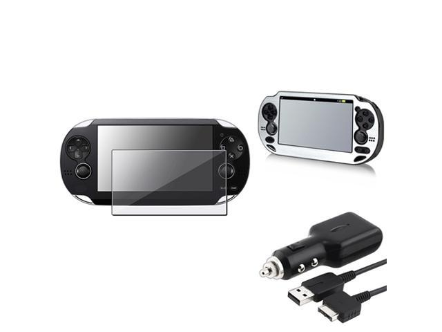 eForCity Silver Aluminum Case + Reusable Screen Protector + Black Car Charger with USB Cable Bundle Compatible With Sony Playstation Vita