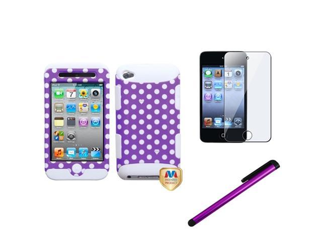 eForCity White Purple Dots Hybrid Case Cover + Screen Protector + Stylus compatible with Apple? iPod Touch 4 4th