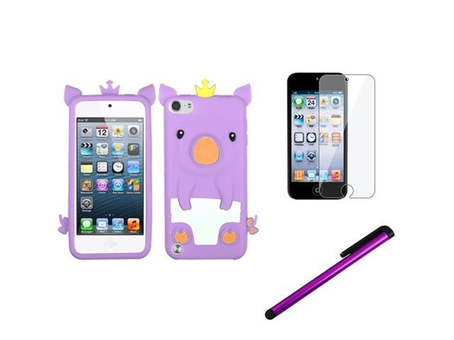 eForCity Purple Pig Piggy Silicone Case + Screen Protector + Stylus compatible with Apple? iPod Touch 5 5th 5G