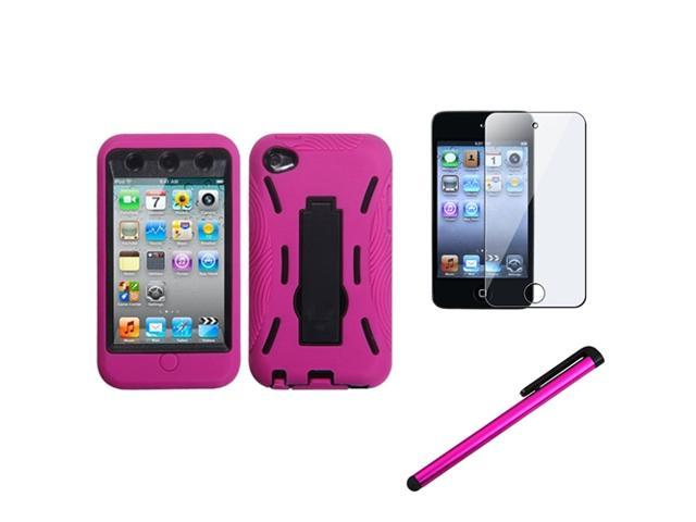 eForCity Black/Hot Pink Stand Cover Case + LCD Shield + Stylus compatible with Apple® iPod Touch 4 4G 4th Gen