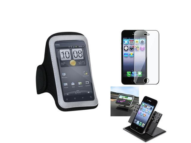 eForCity Film + Holder + Pouch Black Sport Armband 212 for Apple iPhone 5 / 5C / 5S