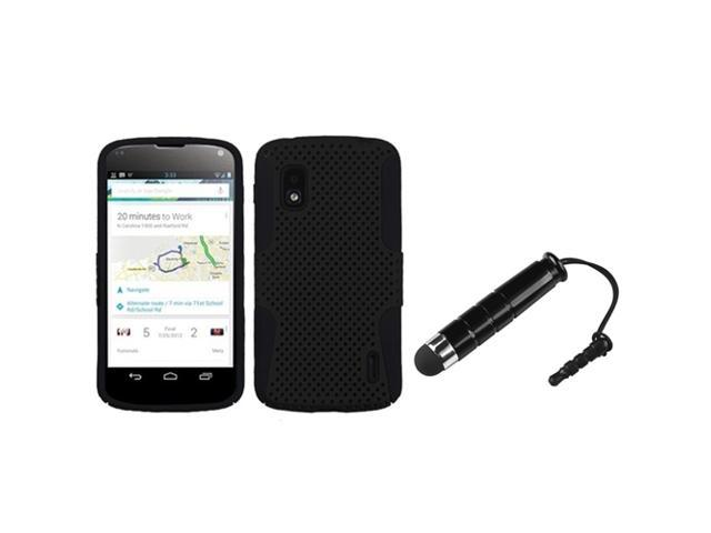 eForCity Black/Black Astronoot Phone Protector Cover + Black Mini Stylus Compatible With LG E960 (Nexus 4)