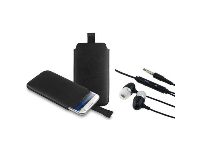 eForCity Black Pull Leather Pouch Case + Black In-ear (w/on-off) Stereo Headsets Compatible with Samsung© Galaxy Note 2 N7100