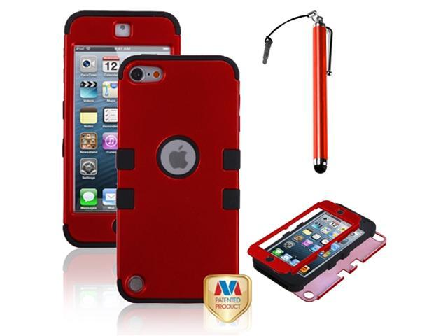 eForCity Titanium Red/Black TUFF Hybrid Phone Protector Cover + Red Stylus Compatible with Apple? iPod touch 5th generation