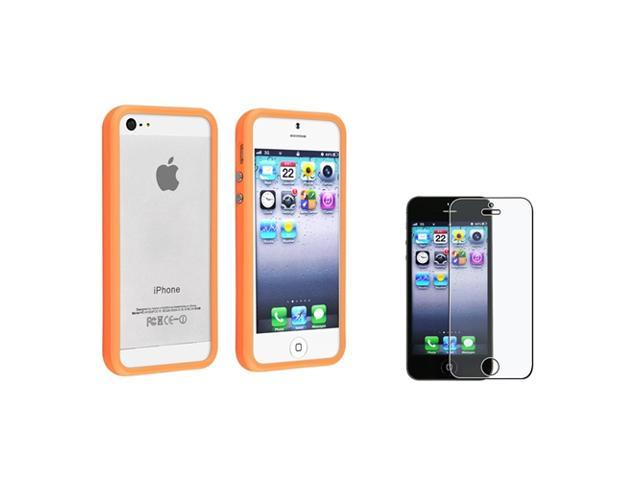 eForCity Orange Aluminum Button Cover Bumper TPU Case + Anti-Glare Screen Protector compatible with Apple® iPhone 5 / 5S
