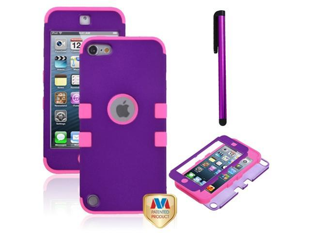 eForCity Rubberized Grape/Electric Pink TUFF Hybrid Phone Protector Cover + Purple Stylus Compatible with Apple? iPod touch 5th generation
