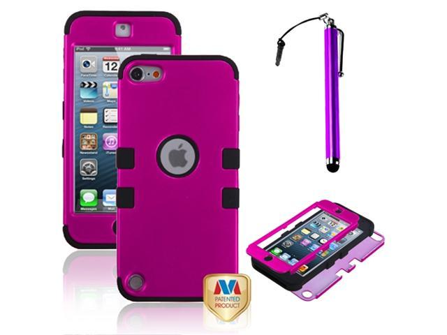eForCity Titanium Solid Hot Pink/Black TUFF Hybrid Phone Protector Cover + Purple Stylus Compatible with Apple? iPod touch 5th generation
