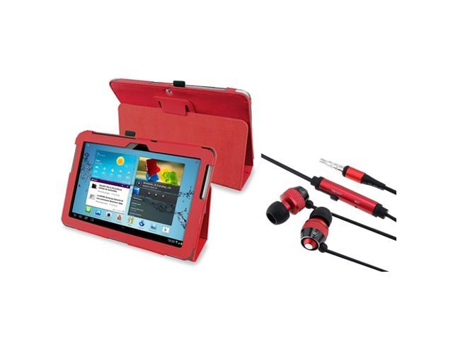 eForCity Red Stand Leather Case + Red In-ear (w/on-off) Stereo Headsets Compatible With Samsung? Galaxy Tab 2 10.1
