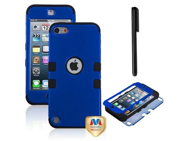 eForCity Titanium Dark Blue/Black TUFF Hybrid Phone Protector Cover + Black Stylus Compatible with Apple® iPod touch 5th generation