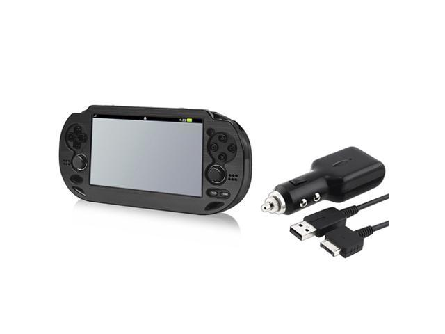 Black Aluminum Case + Car Charger With USB Cable for Sony PlayStation Vita