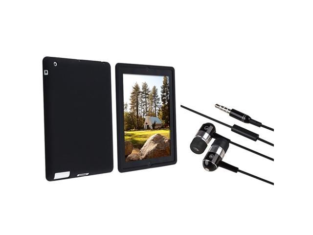 Black Silicone Skin Case + Black / Chrome Silver In-Ear(w/ On-off & Mic) Stereo Headset Compatible with Apple® The new iPad /ipad 4 / iPad ...