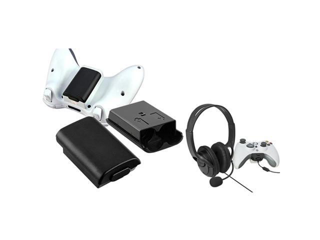 eForCity Black Wireless Controller Battery Shell Pack + Headset W/Mic For Xbox 360