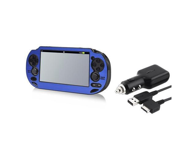 Blue Aluminum Case + Car Charger With USB Cable for Sony PlayStation Vita