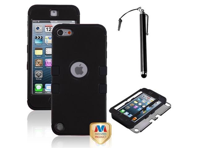 eForCity Rubberized Black/Black TUFF Hybrid Phone Protector Cover + Black Stylus Compatible with Apple? iPod touch 5th generation