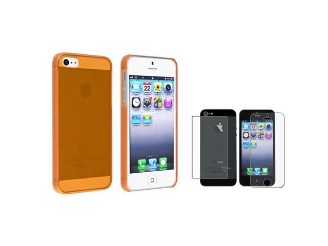 eForCity Clear Orange Slim Hard Case + Anti-Glare Front & Back Screen Protector Compatible With Apple® iPhone 5 / 5S