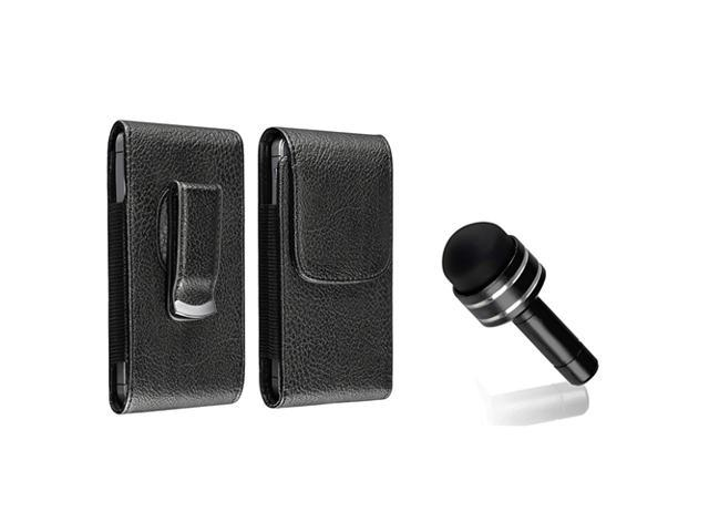 eForCity black w/black stitching Leather Phone Case with Magnetic Flap + Black 3.5-mm Headset Dust Cap with Mini Stylus