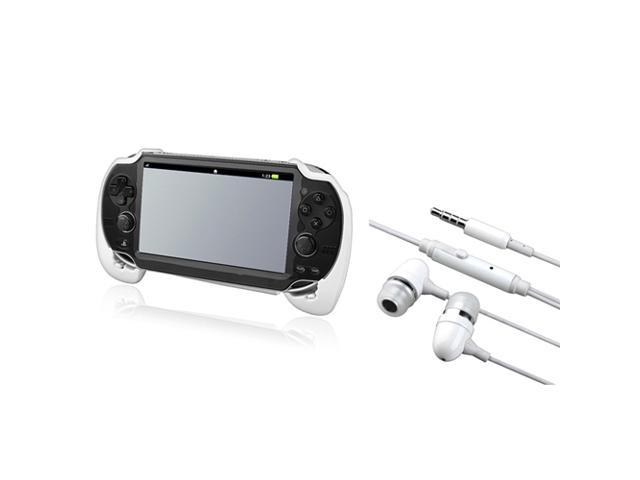 White Hard plastic rubber coating Hand Grip + On-off & Mic Headsets compatible with Sony PlayStation Vita